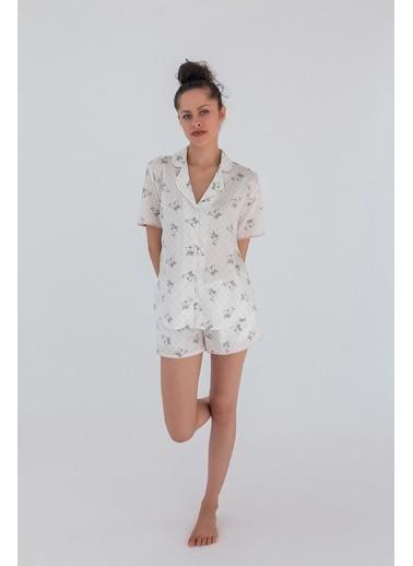Hays Kadın Gömlek Model Kısa Kollu Pamuk Saten Üst Gri
